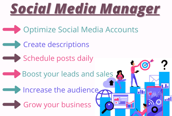 I will be Professional Social Media Marketing Manager for your business