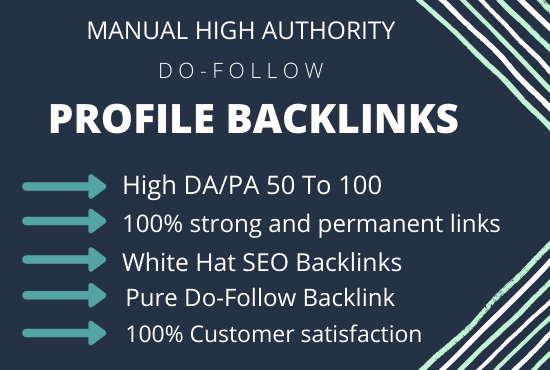 I will create 70 High Authority Profile Backlinks,  link building manual SEO service