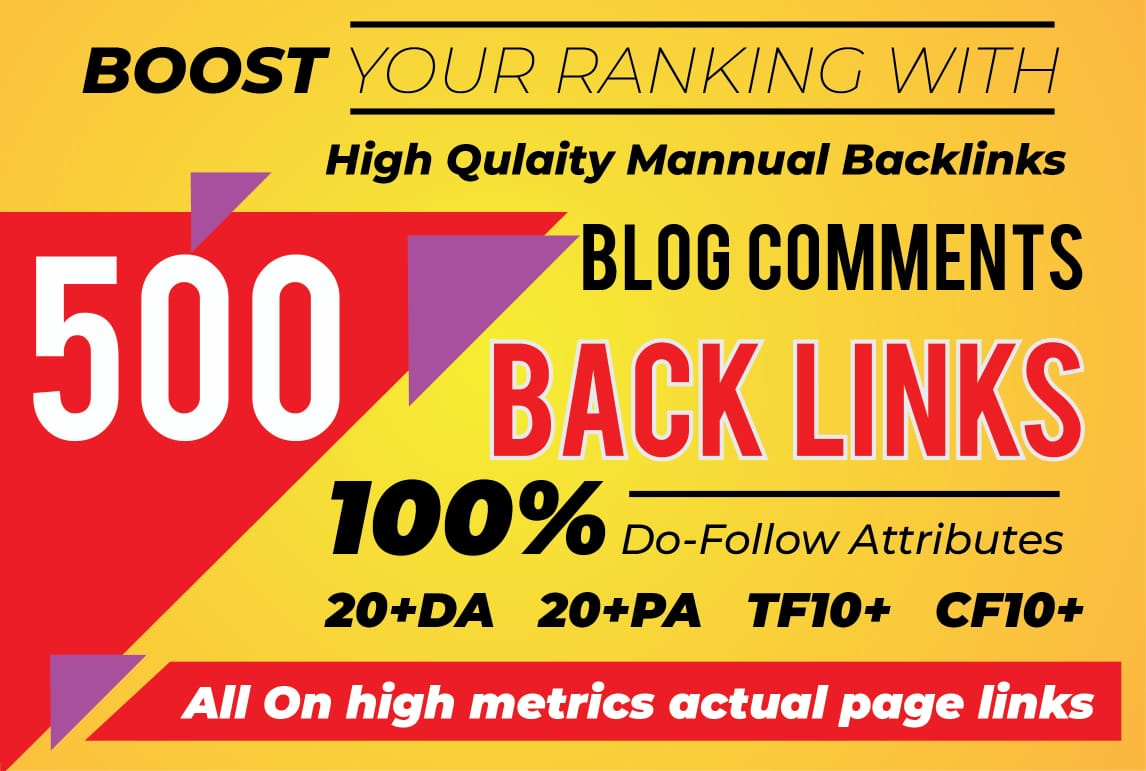 I will do 500 unique trust flow blog comment manual on ranking sites
