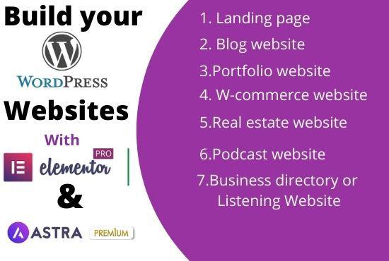 I will create full WordPress website using elementor pro, astra pro