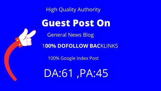 publish guest post on da 61 general news blog Google indexed post