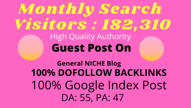 Write and publish guest post on da 55 general niche blog for Google indexed post