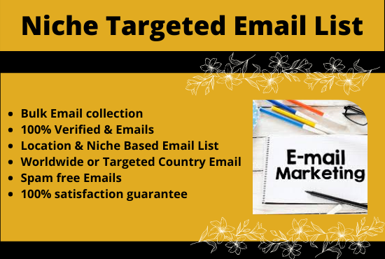 I Will Give You 5k Verified Niche & Location Targeted Bulk Email List For Your Email Marketing
