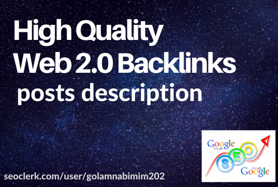 Get 10 Web 2.0 High Quality,  Manually created and Rapid Backlinks