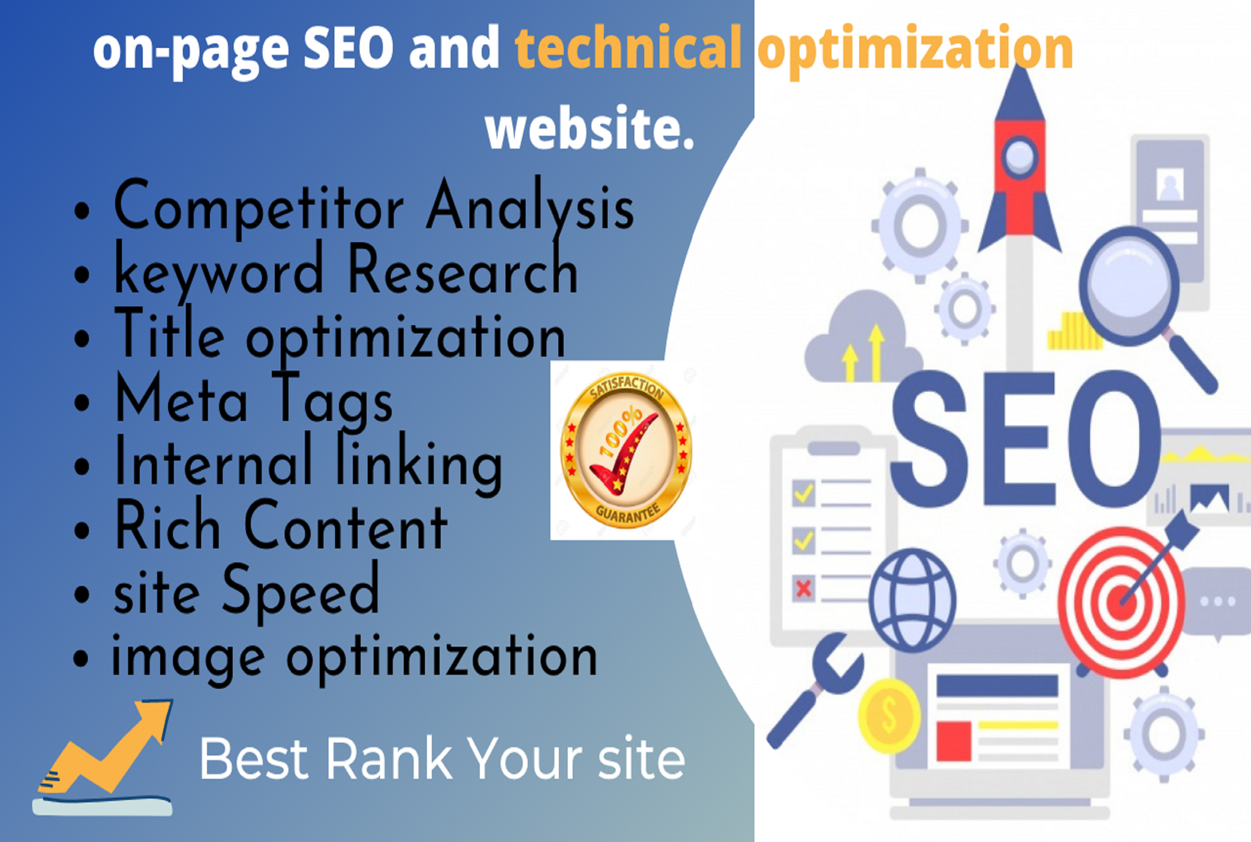 do on page SEO and technical optimization website For 5 Page