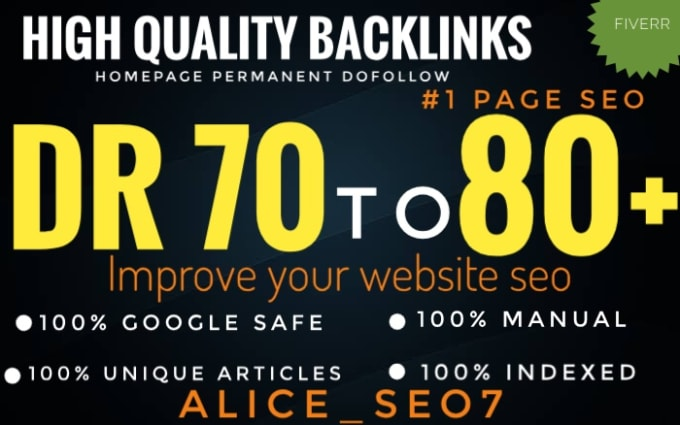I will do 100 high quality DR 70 to 80 manual seo dofollow backlinks