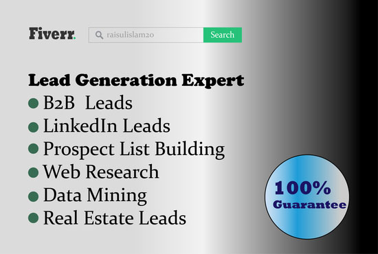 I will do b2b lead generation,Email list and Web research for your targeted business