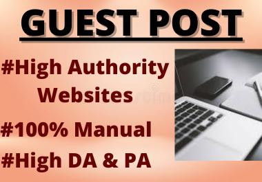 Write and publish 10 Guest Post High DA Contextual Permanent back-links unique link building