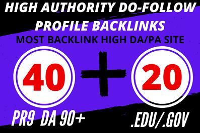 1 Day Delivery 40 PR9+ 20 High Authority Dofollow EDU Gov Profile Backlinks