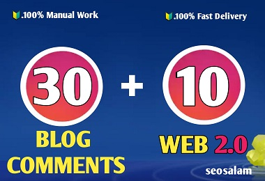 24 hours Delivery 30 blog comments +10 Web 2.0 high authority SEO backlinks