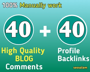 24 hours Delivery 40 blog comment+40 high domain authority SEO profile backlinks