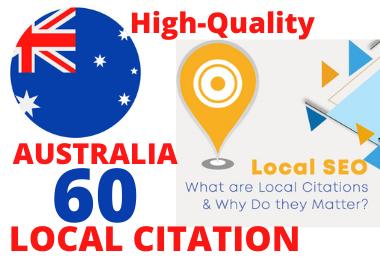 I will do top 60 AUS live local citations,  business listing