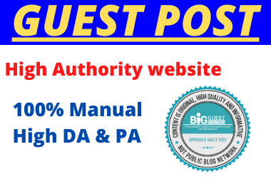 Write and Publish 10 Guest Post High Authority unique dofollow permanent contextual backlinks
