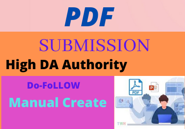 20 PDF submission high authority permanent backlinks manually creation website