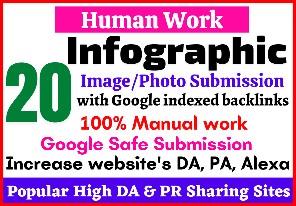 Get 20 Google Safe Manual Image or Infographic submission in High DA80+ Sharing Sites to Rank Higher