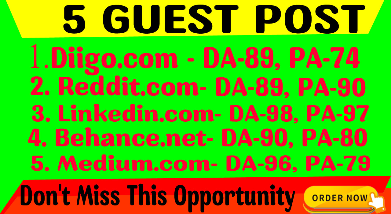 I will write and publish 5 Guest Posts on DA-90 To Boost your SEO Ranking