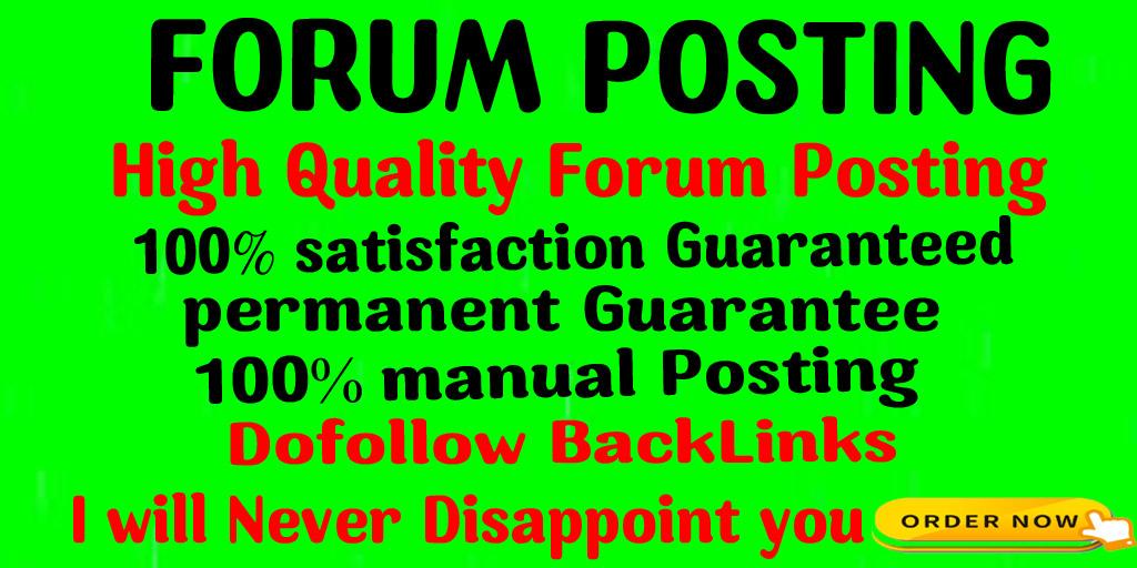 Provide 50 doFollow Forum posting backlinks on High DA Site