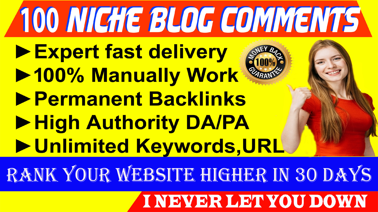 I will Do Manually 100 High Niche Blog Backlink Comments