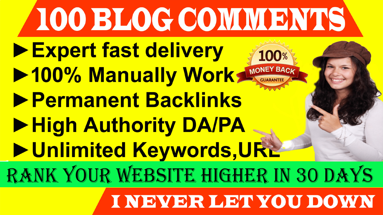 I will Do Manually 120 High Blog Backlink Comments For Your Website