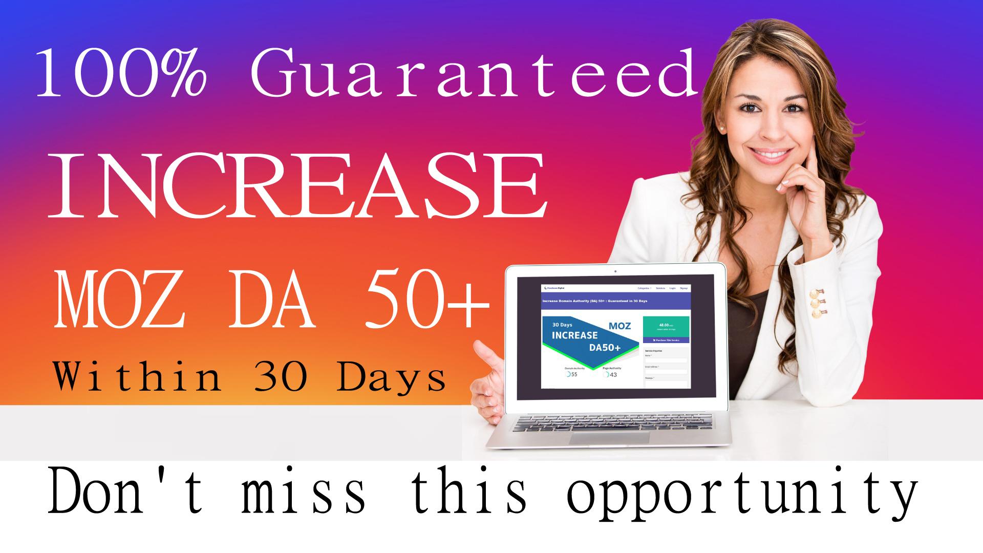 INCREASE MOZ DA 50+ DR 40+ Within 30 Days