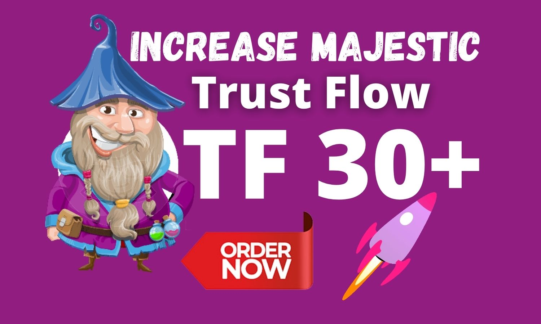I will increase majestic trust flow ranking TF 30 with Quality Backlinks TF CF DA DR UR