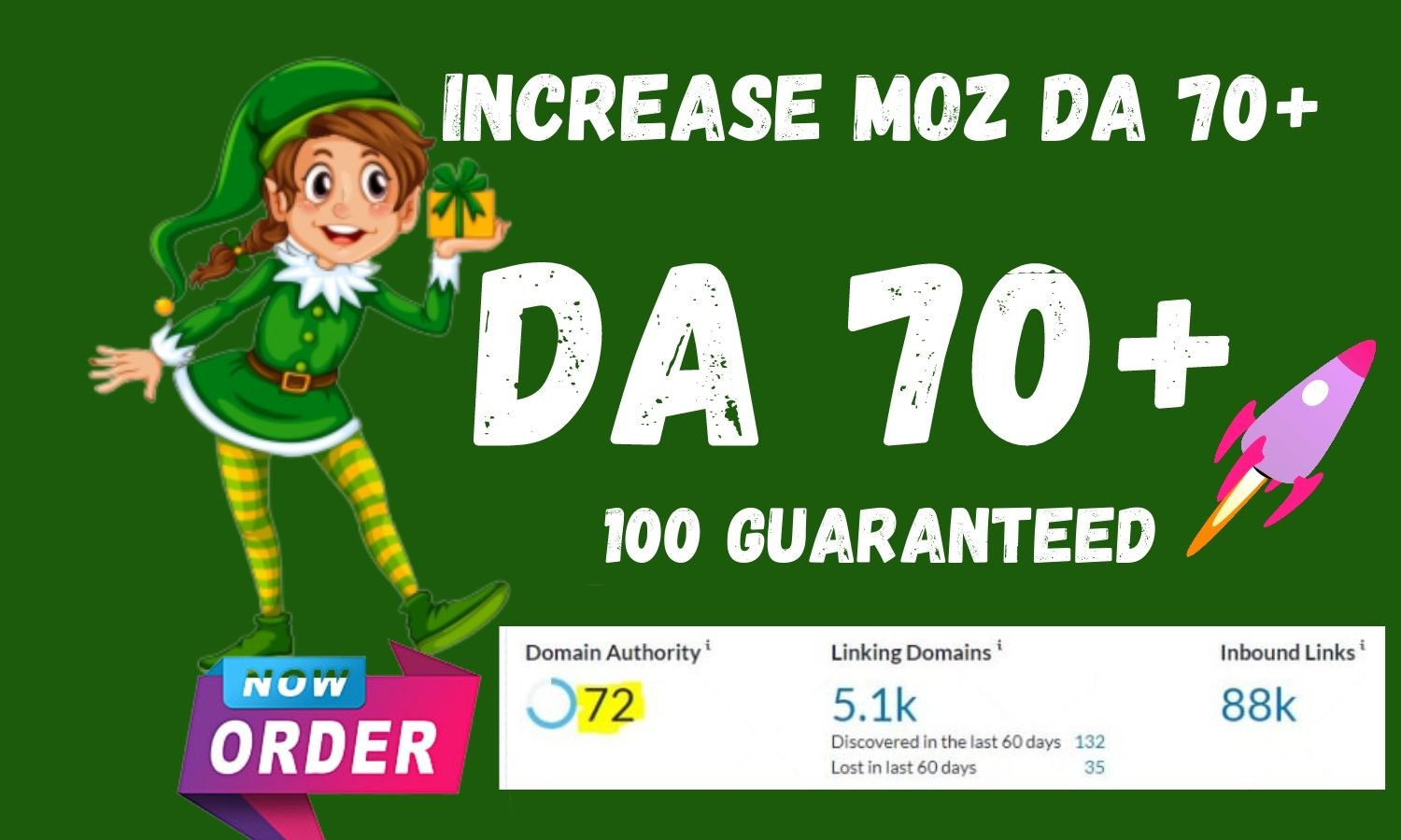 I will increase Moz Domain Authority 70 Plus in 21 days fast