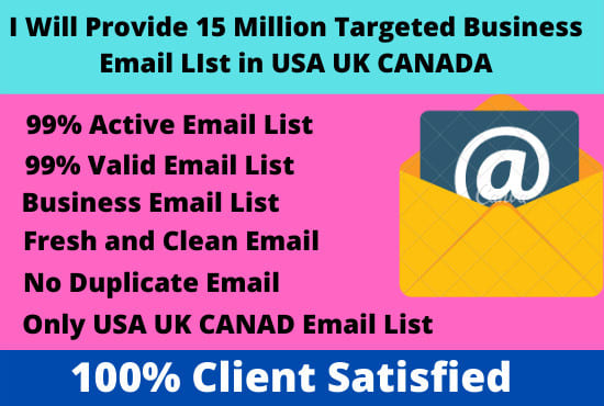 I will provide 15 million business email list in USA UK canada only