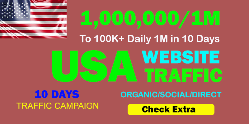 1,000,000 USA TARGETED Organic Web Traffic to your website within 10 days.