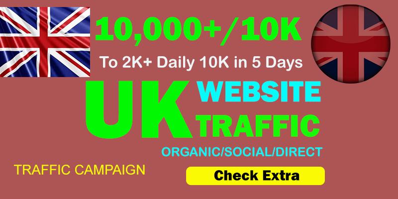 10,000 United Kingdom UK TARGETED Organic Web Traffic to your website