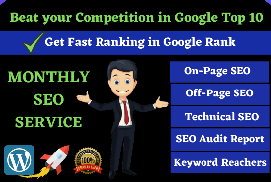 Rank On Google 1st Page Monthly SEO Service Full On-Page Optimization & Of-Page SEO