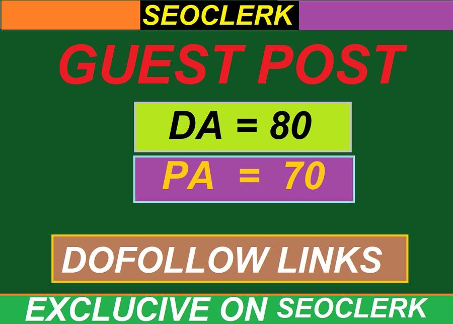 I provide manually Guest Post DA 80+