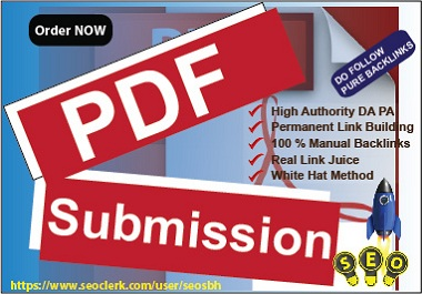 10 PDF Submission High Authority PA DA Manual BackLinks White Hat Rank Site upper