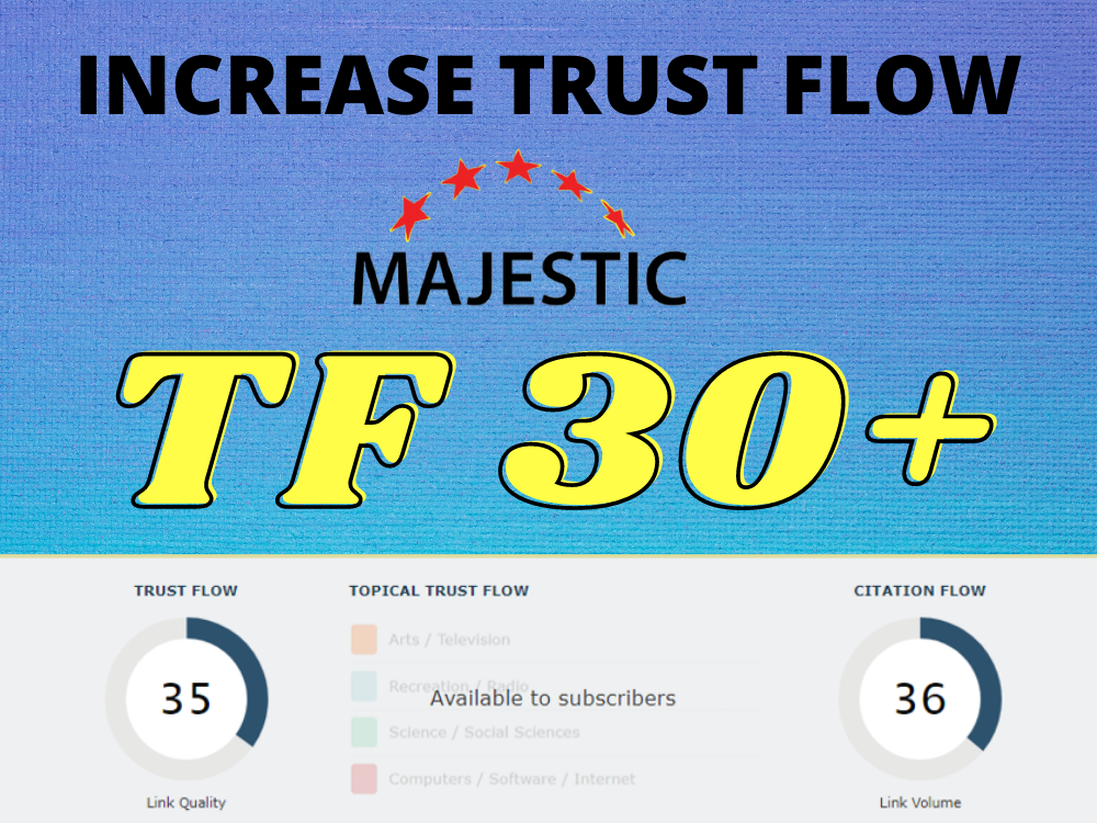 I will increase your majestic trust flow,  increase tf cf 30 plus