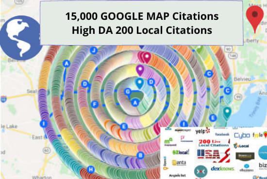 200 live local citations and 15000 google map citations