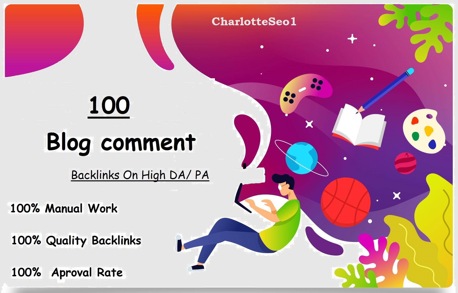 I will Do Manually 100 Unique Domain Blog comments Backlinks