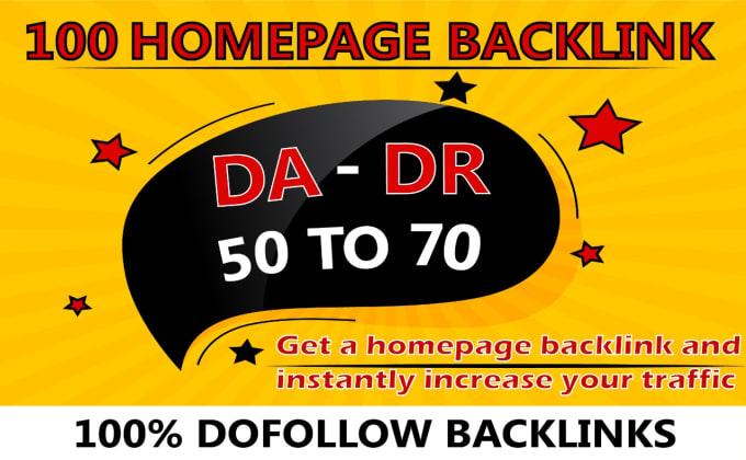 I will provide 100 high da DR homepage backlinks
