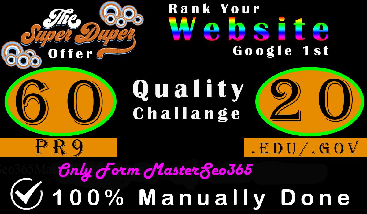Create 60 Backlinks Da 80 To 100, With 20 Edu-Gov. average DA 40-100 High Domains Authority