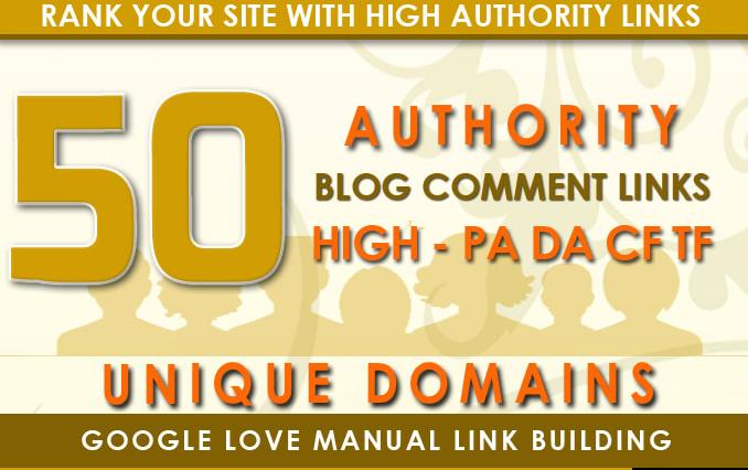 Manually 50 backlinks high DA PA 50+