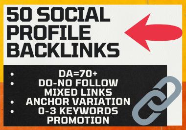 50 manual High Authority Social Profile Backlinks