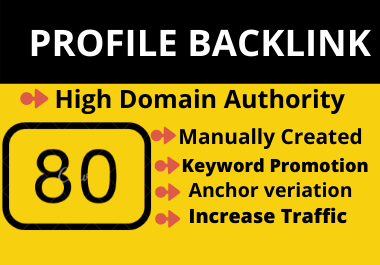 80 High domain Authority Social Profile Creation Backlinks