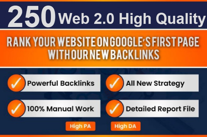 250 Manual contextual Web 2.0 backlink on high DA sites with quality