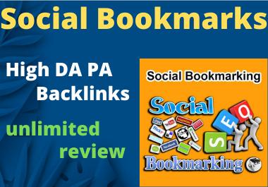 20 Social Bookmark Do follow High Authority Permanent Backlinks unique link Building