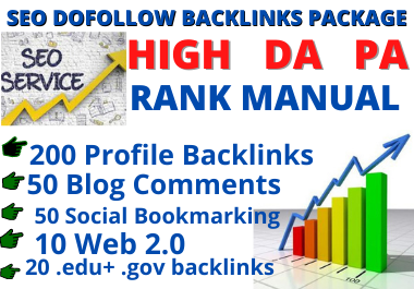 High DA manual Profile backlinks + WEB 2.0 + Blog comments all in one of page SEO backlinks package
