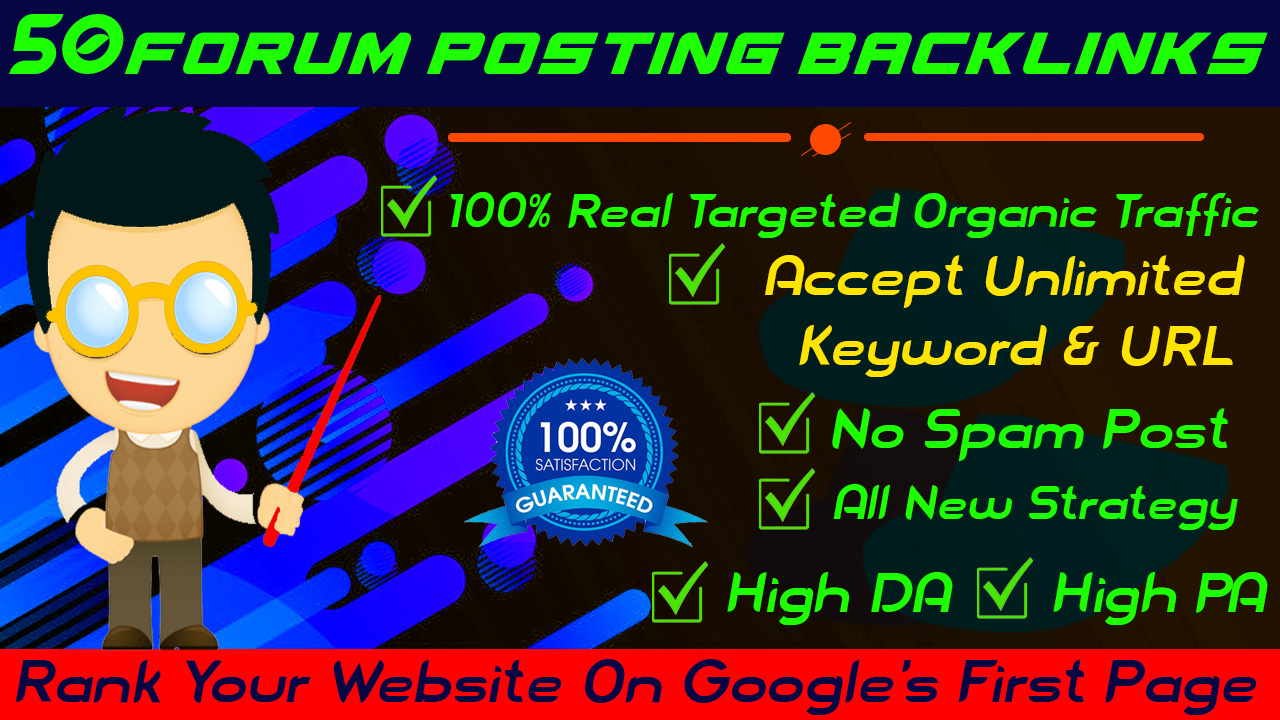 I will create 50 unique quality forum posting dofollow SEO backlinks