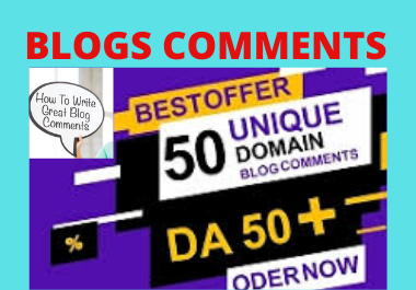 Manual live 50 Blog Comments backlinks High Authority Unique link building