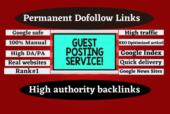 40 Write and publish guest post High DA/PA, 40 different websites and dofollow backlinks