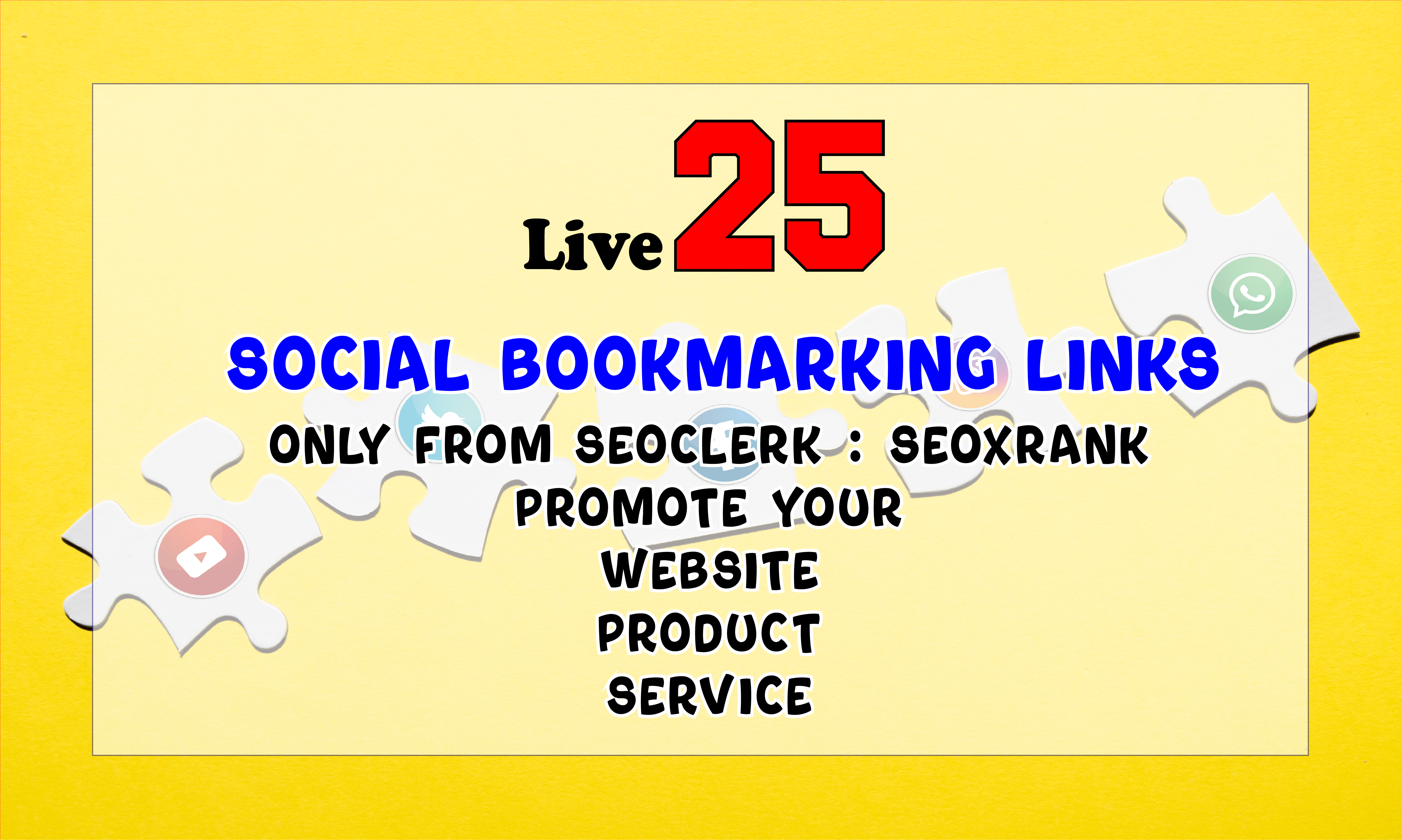 Instant 25 Live Social Bookmarks Links within 24 hours