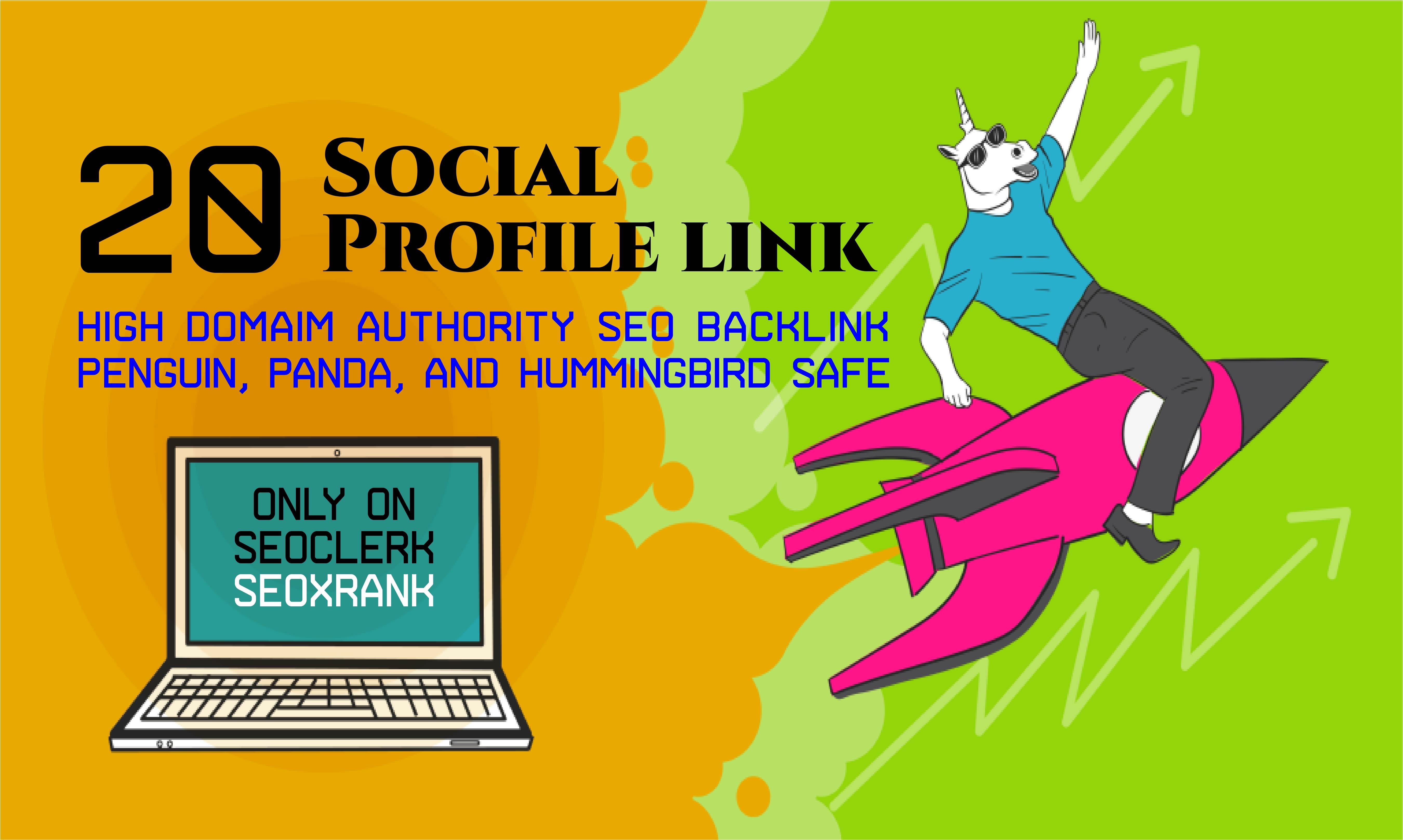 Create 20 Social Profile Links DA80-DA100 to Boost Your Google Ranking