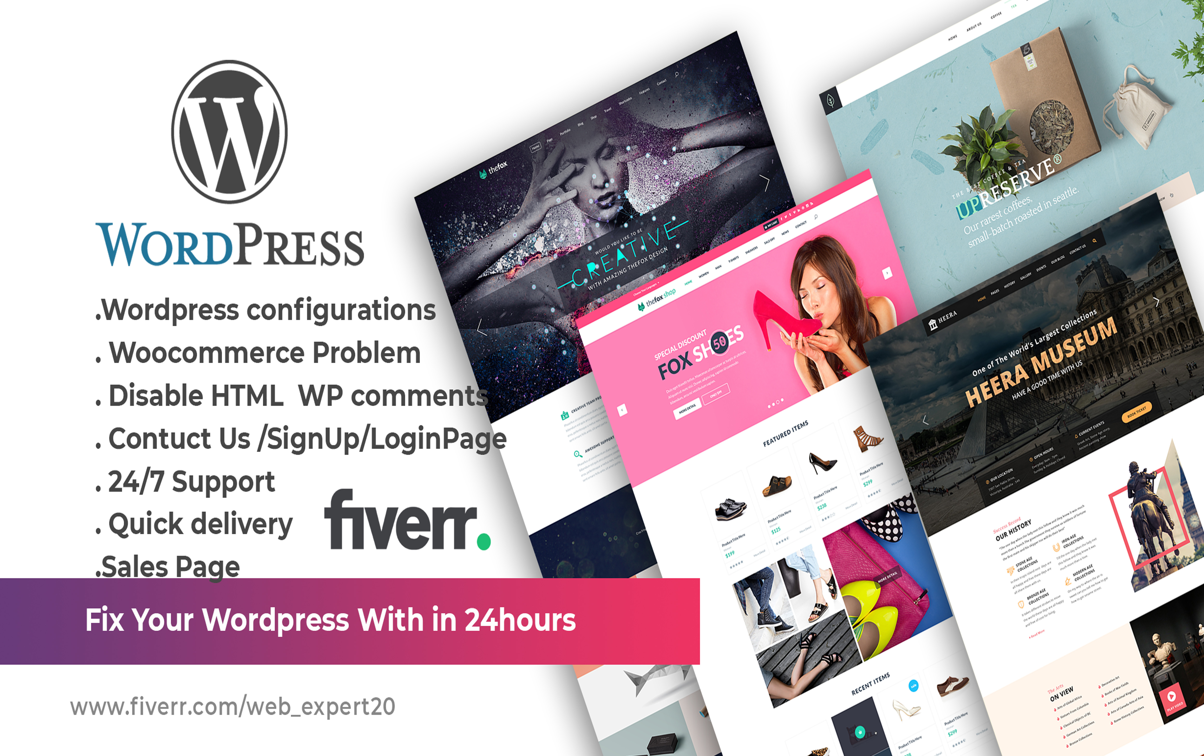 I will create fix ,customize,your wordpress,website issues