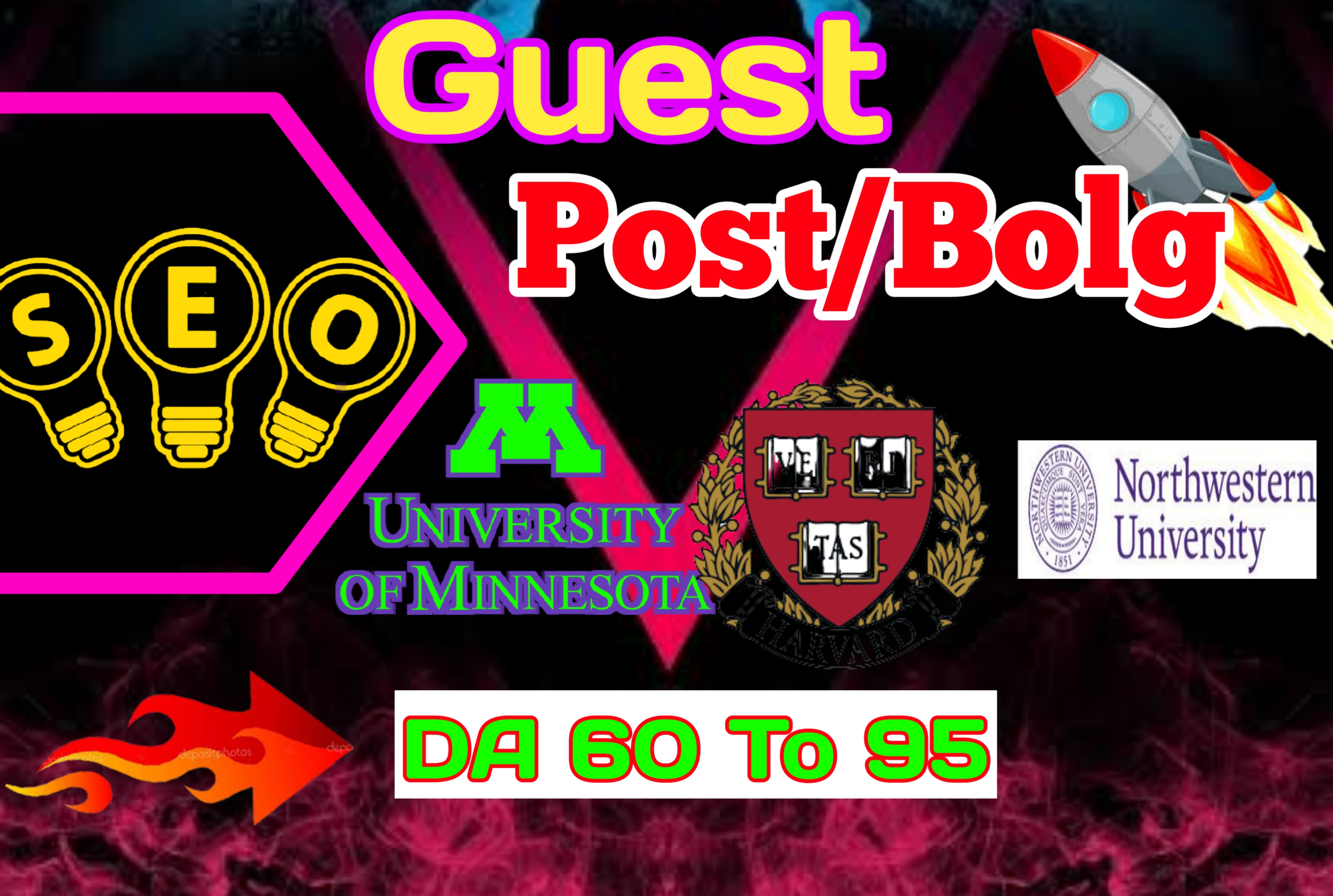 I will write and publish 25 guest post on high DA60 with do follow and no follow links to rank your